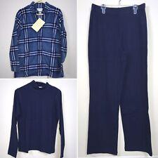 Sport Savvy 3 Pc Fleece Zip Hoodie Long Sleeve Shirt Turtleneck Pants Blue QVC