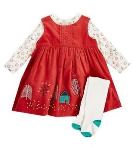 Ex M&S Baby Girls Red Woodland Pinafore Dress Bodysuit Tights Outfit 0 - 24 £20