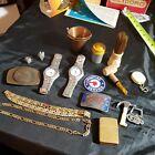 Vintage+Men%27s+Junk+Drawer+Lot%21+Watches%2C+Belt+Buckles+Lighter