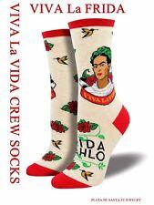 "Frida Kahlo~""Viva la Vida~Viva la Frida""~Heather Ivory~Crew Socks~Free Ship!"
