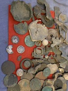 metal detecting finds job lot, Coins Silver Hammered, Medieval, Nice Mixed Lot 5