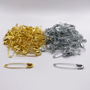 240 Safety pins (36mm Gold & Silver) - 120 Gold and 120 Silver Safety pins New
