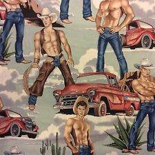 AH176 Male Sexy Man Cowboy Pin Up Hunk Hot Stuff Wild West Cotton Quilt Fabric
