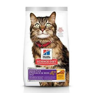 Hill's Science Diet Dry Cat Food, Adult, Sensitive Stomach & Skin