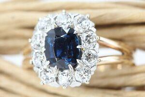 Diamant Ring Gold 585 Saphir 14K Weißgold 10 Altschliff 0,60 ct. 1 Saphir 0,90ct