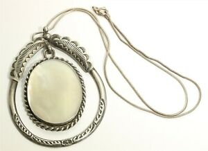 Vintage Navajo Sterling Silver Large Stamped Mother of Pearl Dangle Necklace