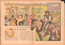 Sweepstake Racing Champs de Course Outsider Percheron  France 1938 ILLUSTRATION
