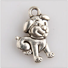 12x Cartoon Dog Tibetan Silver Charms Pendants 18mm HN78