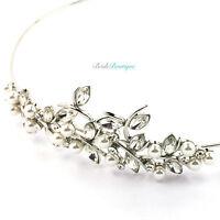 Bridal Wedding Prom Crystal Pearl Vine Leaf Silver Headband Side Tiara TH04
