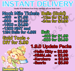 ⚡️ONLINE DELIVERY⚡️ Nook Miles Tickets, Bells, Sanrio Items - New Horizons