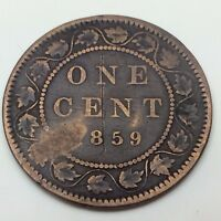 1859 Canada Copper One Large Cent Penny Circulated Canadian Coin C162