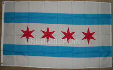 3'x5' Chicago Windy City Flag Outdoor Banner Illinois Four Red Stars Huge 3x5
