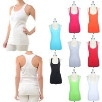 Women's Ribbed Cotton Racerback Scoop Neck Sleeveless LONG Tank Top S M L
