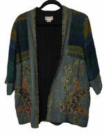 Soft Surroundings Jacket Womens Petite Medium Wool Boho Embroidered Open Front *