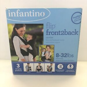 New Infantino Flip Front2Back Baby Carrier 3 Carrying Positions Black 8-32 lbs