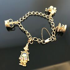 Vintage 9ct Yellow Gold Charm Bracelet with 4 Charms #272