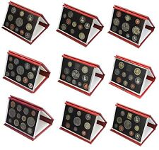 More details for red leather deluxe royal mint proof sets 1985 to 2007 choice of set birthday