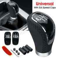 5 6 Speed W/ 3 Cap Universal Leather Manual MT Car Gear Stick Shift Shifter Knob