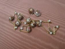 Vintage Venetian Murano White Wedding Cake Pink Roses Glass Necklace Earrings