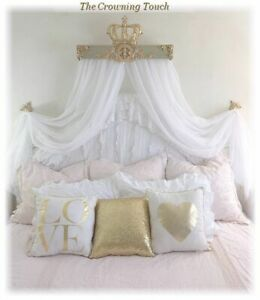 """30"""" Gold Champagne Bed Crown Canopy Teester Queen/King Bed with Free Sheers"""