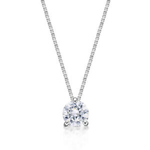 1/4 Carat Lab Grown Diamond Solitaire Pendant Necklace for Women in 14k White Go