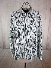 Alfred Dunner Womens Animal Print Long Sleeve Black and White Zip Up Jacket 16