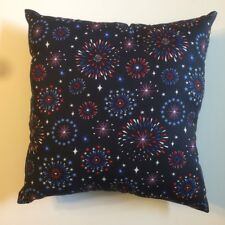 NEW 15 X 15 FIREWORKS JULY 4TH MEMORIAL DAY USA COMPLETE PILLOW - GREAT GIFT! BL