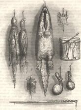 Indian. medicine bag, mystery whistle, rattle, drum c1880 old antique print