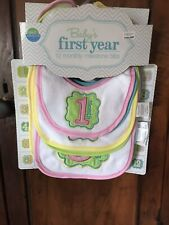 Neat Solutions Baby's First Year 12 Month Girls Milestone Bibs, Baby Shower