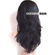 Dark Medium Brown 3/4 Wig Long Straight Layers Straight Half Wig 916-4