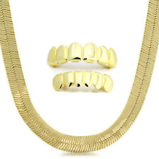 "14K Gold Plated 11mm 24"" Flat Herringbone Necklace Chain And Set Of Grillz Mouth"