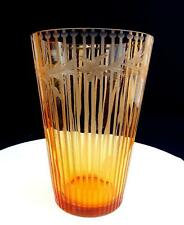 "DEPRESSION ERA AMBER GLASS ART DECO ETCHED LINE AND FLORAL 8"" VASE 1930's"