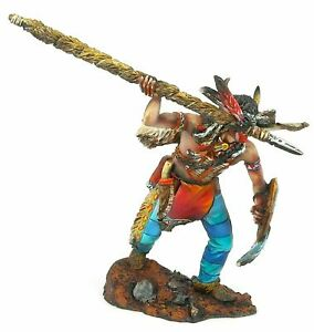 COLLECTIBLE PAINTING TIN SOLDIER INDIAN WITH SPEAR 75 MM