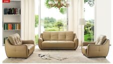 ESF 2088 Brown Top-Grain Leather Living Room Set, Total of 3 Pieces