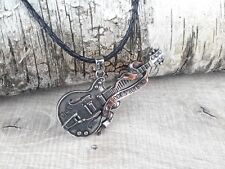 Women's Men's  Necklace Alchemy Gothic Pendant Steel Guitar Rock'n'Roll Leather