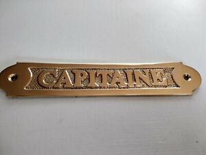 Plaque de porte laiton massif CAPITAINE  neuve longueur 18cm