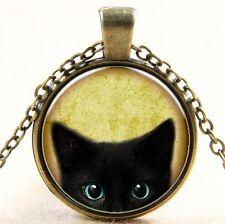 Vintage Black Cat  Cabochon Bronze Glass Chain Pendant Necklace W146
