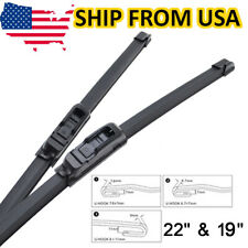 """22"""" 19"""" Pair Front Windshield Wiper Blades Cleaning Window Rubber Fits Hook Arm"""