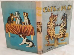 CATS AT PLAY LOUIS WAIN 4 PLANCHES COLORATE ILLS. GATTI GATTO CAT EDWARDIAN