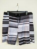 Mantaray Beach Men's Board Shorts Size 38 Size 97 Black White Stripe