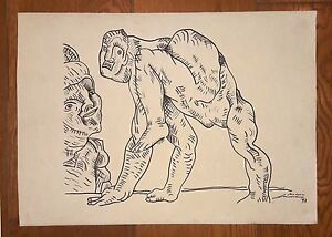 "JOSE LUIS CUEVAS 18"" x 12.5"" INK ON THICK PAPER SIGNED"