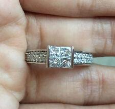 14k White Gold 1Carat Princess Diamond Quad Wedding Engagement Ring Anniversary