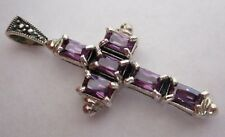 Solid Silver Amethyst Purple Cubic Zirconia Cross Pendant Religious.