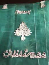 Vintage Christmas 1950's Tablecloth 66x102 Tulle Netting Felt Sequin angel Tree