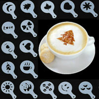 Fashion Cappuccino Coffee Barista Stencils Template Strew Pad Duster Spray 16 PC