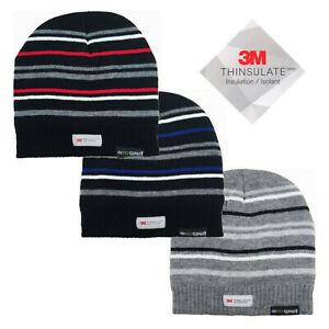 3M Thinsulate Warm Insulated Thermal Polar Fleeced Lined Mens Striped Beanie Hat