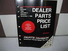 HONDA FACTORY DEALER PARTS PRICE LIST 2ND EDITION VOL 3 1998 EFF NOV 1, 1998
