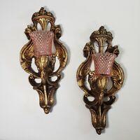 """Victorian Candle Sconces Pair Hollywood Regency Pink Votive Holders 14"""" Vtg"""