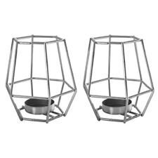 Pair of Decorative Silver Chrome Geometric Basket Cage Tea light Candle Holders