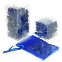 Blue Quartz Tumbled Polished Small Stones, Gift Boxed, 3 Set Size Choices